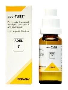 Adel 7 Apo-Tuss Drops for Cold, Cough, Bronchitis, Flu in hindi khaansee. svarayantr kee beemaariyaan, shvaas rog, phloo evan tej jukaam ki dawa